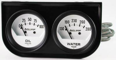 Black Two-Gauge Console with White Face Gauges