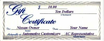 10 Dollar AC Gift Certificate