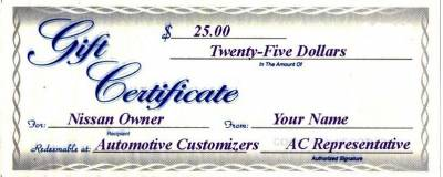 25 Dollar AC Gift Certificate