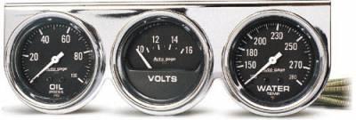 Chrome Three-Gauge Water Temperature / Oil Pressure / Voltmeter