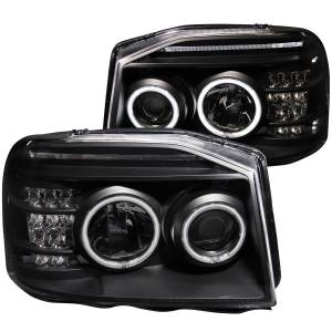 PROJECTOR HEADLIGHTS w/ L.E.D BAR BLACK CLEAR (CCFL)