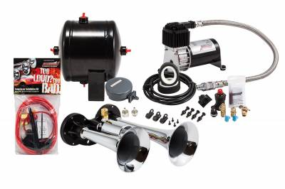 PROBLASTER COMPLETE CHROME COMPACT DUAL AIR HORN PACKAGE