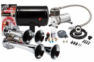 PROBLASTER COMPLETE CHROME COMPACT QUAD AIR HORN PACKAGE