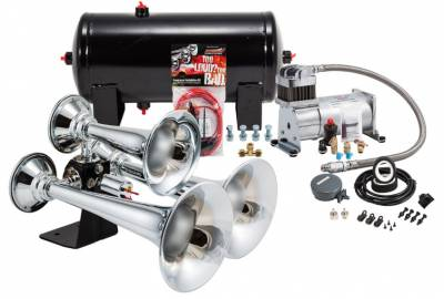 PROBLASTER COMPLETE CHROME ABS TRIPLE TRAIN HORN PACKAGE