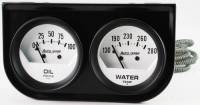 Mini Gauges & Consoles - Auto Meter Two Gauges and Three Gauges - Black Two-Gauge Console with White Face Gauges