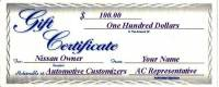 Gift Certificates - 100 Dollar AC Gift Certificate
