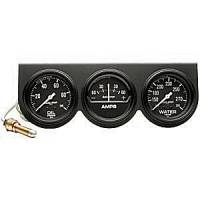 Mini Gauges & Consoles - Auto Meter Two Gauges and Three Gauges - Black Three-Gauge Oil Pressure / Amp / Water Temperature Full Sw