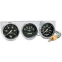 Mini Gauges & Consoles - Auto Meter Two Gauges and Three Gauges - Chrome Three-Gauge Water Temperature / Oil Pressure / Amp Full S