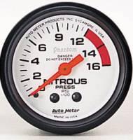 Gauges & Gauge Pods - Phantom Series Gauges - Nitrous Pressure 0-1600 PSI