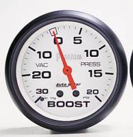 Gauges & Gauge Pods - Phantom Series Gauges - Boost 30 in Hg.-Vac./15 PSI w/Peak