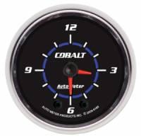Cobalt Series Gauges - Auto Meter Cobalt Voltmeters, Clocks, and Air/Fuel Ratio Gauges - Clock