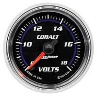 Cobalt Series Gauges - Auto Meter Cobalt Voltmeters, Clocks, and Air/Fuel Ratio Gauges - Voltmeter Full Sweep