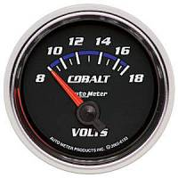 Cobalt Series Gauges - Auto Meter Cobalt Voltmeters, Clocks, and Air/Fuel Ratio Gauges - Voltmeter Short Sweep