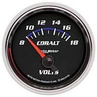 Cobalt Series Gauges - Auto Meter Cobalt Voltmeters, Clocks, and Air/Fuel Ratio Gauges - Voltmeter Short Sweep