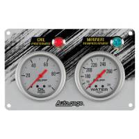 Autogage - Auto Meter Auto Gage Two Gauges Three Gauges and Race Panels - Water Temp Gauge with Red Pointer 100deg-250deg
