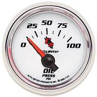 """C-2 Series Gauges - Auto Meter C-2 Oil, Water, Pyrometer, and Voltmeter Gauges - Oil Pressure Gauge 2-1/16"""""""