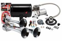 Horns - Complete Air Horn Kits - PROBLASTER COMPLETE CHROME COMPACT TRIPLE AIR HORN PACKAGE