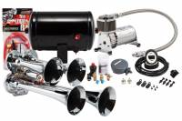 Horns - Complete Air Horn Kits - PROBLASTER COMPLETE CHROME COMPACT QUAD AIR HORN PACKAGE