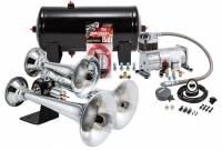 Horns - Complete Air Horn Kits - PROBLASTER COMPLETE CHROME ABS TRIPLE TRAIN HORN PACKAGE