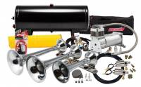 Horns - Complete Air Horn Kits - PROBLASTER COMPLETE CHROME TRIPLE TRAIN HORN PACKAGE